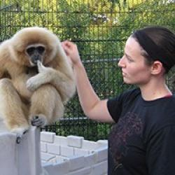 Ashley Edes with a gibbon