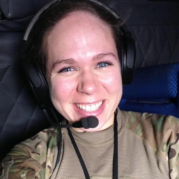 Gretchen Klingler in cockpit
