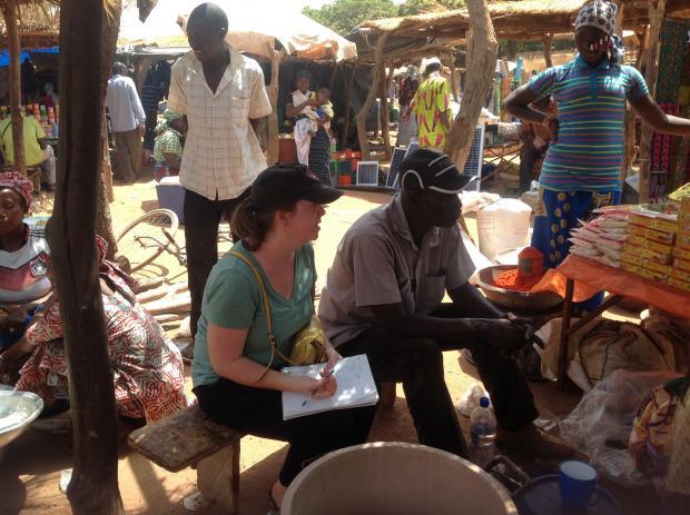 Elizabeth Gardiner conducting interviews in Burkina Faso
