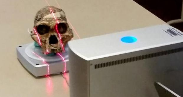 3-dimensional scanning of a hominin skull