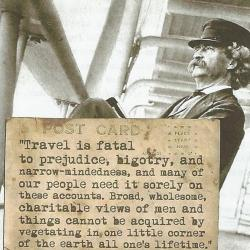 Image of Mark Twain sitting in a deck chair with a quote about travel being fatal to prejudice