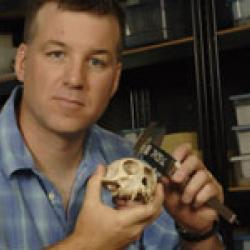 Dr. McGraw with monkey skull