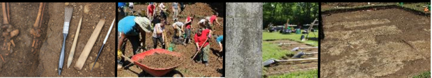 Montage of students excavating