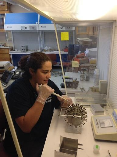 Dr. Deanna Grimstead preparing samples in the Archaeological Isotope Laboratory
