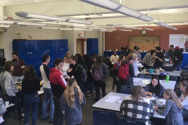 students mingle at the opportunity fair