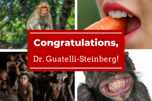 A graphic congratulating Dr. Guatelli-Steinberg