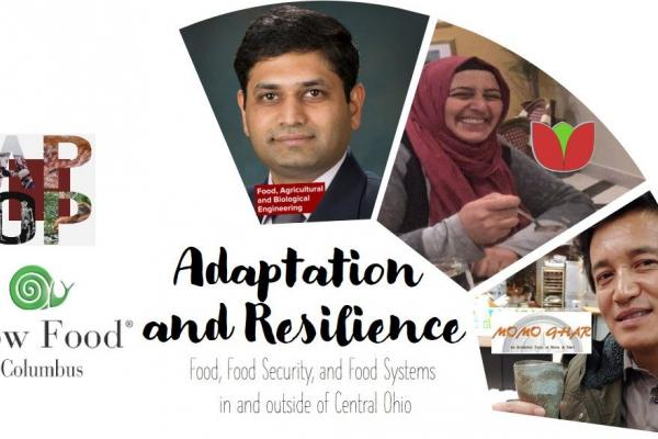 A graphic showing the speakers for the Adaptation and Resilience talk