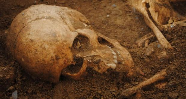 Human burial from a medieval cemetery, Tuscany, Italy