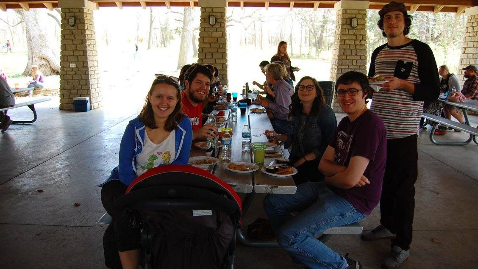 Graduate students enjoying the picnic at Highbanks Metro Park